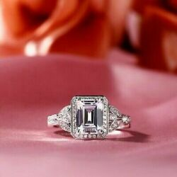 14k White Gold Over 3.90ct Emerald Cut Diamond Vintage Engagement And Wedding Ring