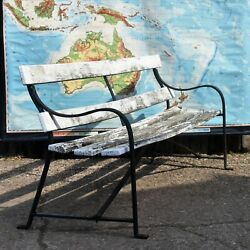 Antique White Garden Bench Wrought Iron Weathered Wooden Patina Seat