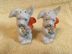 Vintage Antique Terrier Dogs with Flowers Salt amp; Pepper Shakers