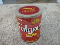 Vintage Folgers Coffee Tin Can With Lid 1 Lb