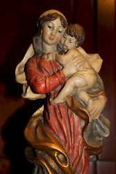 ☩ Vintage 15 Hand Carved Wooden Our Lady Mary Madonna Jesus Statue Figurine ☩