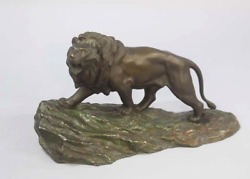 Japanese Antique Bronze Lion Sculpture By Takahashi Ryoun
