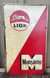 Vintage Lion Oil And Gas, Monsanto Sign, Greenback, 24 X 14, Great Graphics