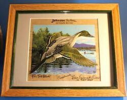 50and039s Johnson Sea Horse Outboard Motors Pin Tail Duck Blair Equipment Signed Art