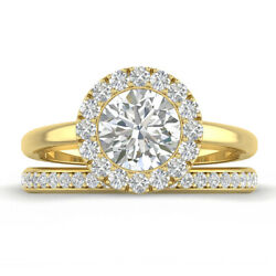 1.46ct F-si1 Diamond Halo Engagement Ring 14k Yellow Gold Any Size