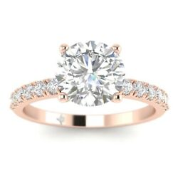 1.28ct H-si1 Diamond French Pave Engagement Ring 14k Rose Gold Any Size