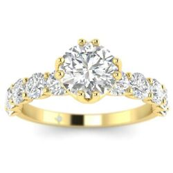 2ct H-si1 Diamond Vintage Engagement Ring 14k Yellow Gold Any Size