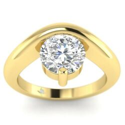 1ct F-vs1 Diamond Floating Engagement Ring 14k Yellow Gold Any Size