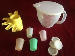 Vintage Tupperware Measuring Cups, 8-cup Mixing Batter Bowl And Midget Containers