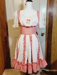 Vintage Red Gingham And White Plaid Dance Western Swing Dress - Petite