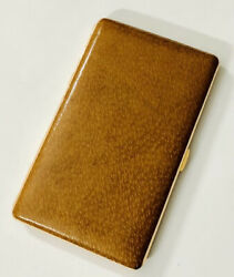Vintage Japan Foreign Cigarette Case Anodized Aluminum With Brown Leather