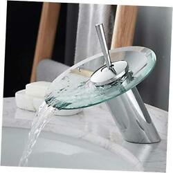Waterfall Bathroom Sink Faucet Solid Brass Glass One Short Blue And Chrome