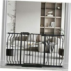 Hoooen Extra Wide Baby Gate Extra Wide Extra Tall Dog Gates 53-57.5 Inch Black