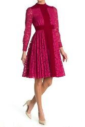 6.7k Valentino Lace And Velvet Long Sleeve Fit And Flare Dress Raspberry Eu 40 Us 4
