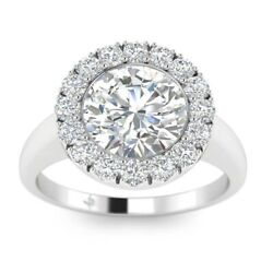 1.25ct H-si2 Diamond Halo Engagement Ring 18k White Gold Any Size