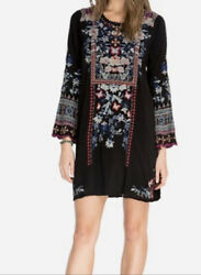 Johnny Was Black Embroidered Floral Tunic Dress Size Medium Nwt 345