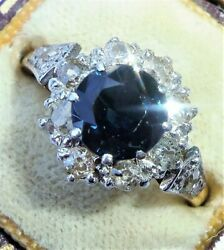 Antique Art Deco 18ct Gold Sapphire And Diamond Round Halo Ring, Size N