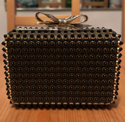 Christian Louboutin Black Studded Fiocco Box Cabo Clutch Bag Chain Rrp Us1895+