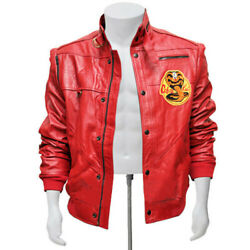 Men Cobra Kai The Karate Kid Johnny Lawrence Red Sheep / Faux Leather Jacket