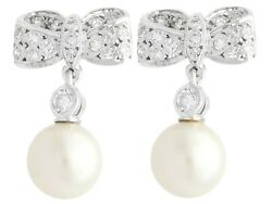 Vintage 0.36 Ct Diamond And Pearl 18k White Gold Drop Earrings Circa 1940