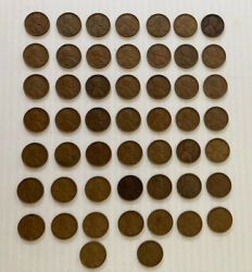 Lot Of 51, 1945 No Mint Mark Wheat Penny Circulated Rare