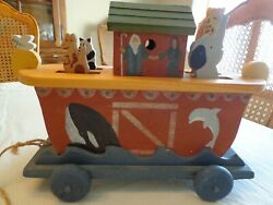Heritage Toys And Collectibles - Handmade Noahand039s Ark Wooden Pull Toy Music Box