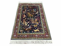 Indian Kashmiri Wool And Silk Rug 4x6 Hunting Scene Dark Blue Hand-knotted Vintage
