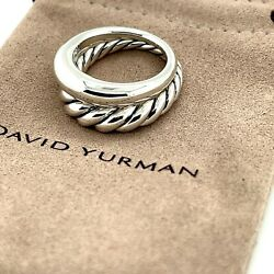 David Yurman Sterling Silver Pure Form Set Of 2 Stack Rings 500