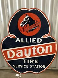 Rare Dayton Thorobred Tire Service Porcelain Advertising Double Sided Sign