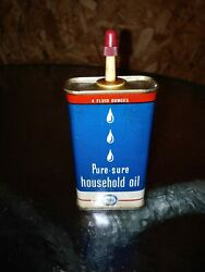 Pure Oil Company Pure-sure Household Oiler 4 Oz. Oil Can Great Shape