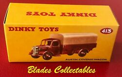 Dinky Toy 413 Quality Repro Box Austin Covered Wagon Maroon/cream