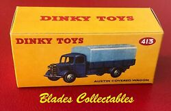 Dinky Toy 413 Quality Repro Box Austin Covered Wagon Dark Blue/mid Blue