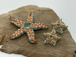 Kjl Kenneth J. Lane Coral, Turquoise And Pearl Starfish Pin And Clip Earrings Set
