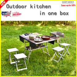 Mobile Kitchen Foldable Table Cookware Set With Folding Stool Cooking Gas Stove