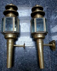 Brass Carriage Lamps Oil Burning W/ Brackets Original Glass Matching 2 French