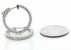 14k Or Blanc 1.96cts F Vs2 Diamant Rond Boucle Earrings Set