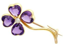 Antique 4.25ct Amethyst And Pearl 15 Ct Yellow Gold Four-leaf Clover Brooch 1880