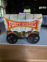 Vintage Lithograph Us Metal Toy Mtg Co.forty Niners Covered Wagon. Free Shipping