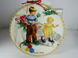 VTG Fabric Panel quot;Dick and Janequot; in Hoop Vintage Buttons Picture b