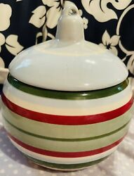 Longaberger Pottery Christmas Ball Ornament Candy Dish/bowl Blue Red Greenstripe
