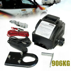 Portable 12v Electric Winch Power Winches Auto Truck Towing Hauling Tool 906kg