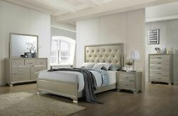 Kings Brand - Champagne Wood With Faux Leather Headboard Queen Size Bedroom Set