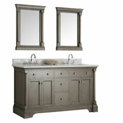 Kingston 61 Antique Silver Double Sink Traditional Bath Vanity With Mirrors