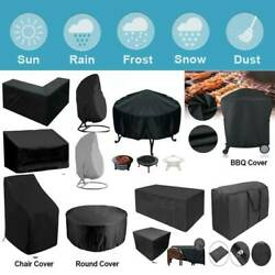 Heavy Duty Garden Patio Waterproof Furniture Chair Bbq Protector Covers Black