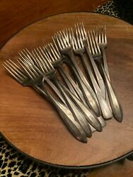 Silverplate Forks Antique Flatware Monogram W Rogers Community Mixed Lot Silver
