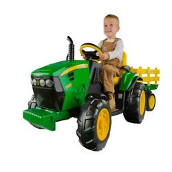Toy Ride On Tractor John Deere Outdoor Play Kids Trailer Car Vehicle Boys Gift