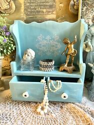 Antique Vtg Wood Apothecary Child Cupboard Hutch Jewelry Cabinet Robin Egg Blue