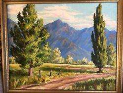 Antique Original Oil Painting Wasatch Mountains 1945 Ruth Morgan Wallace
