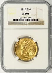 1932 Gold Indian 10 Ngc Ms62