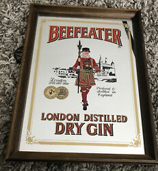 Vintage Beefeater Mirror Hanging Bar Sign London Distilled Dry Gin Wood Man Cave